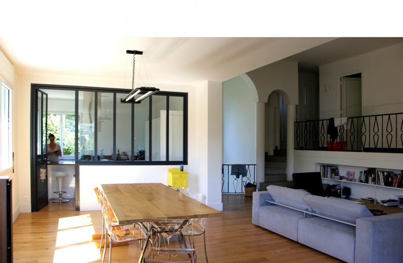 Création d'une verrière sur la cuisine et reprise en sous oeuvre entre salon et séjour