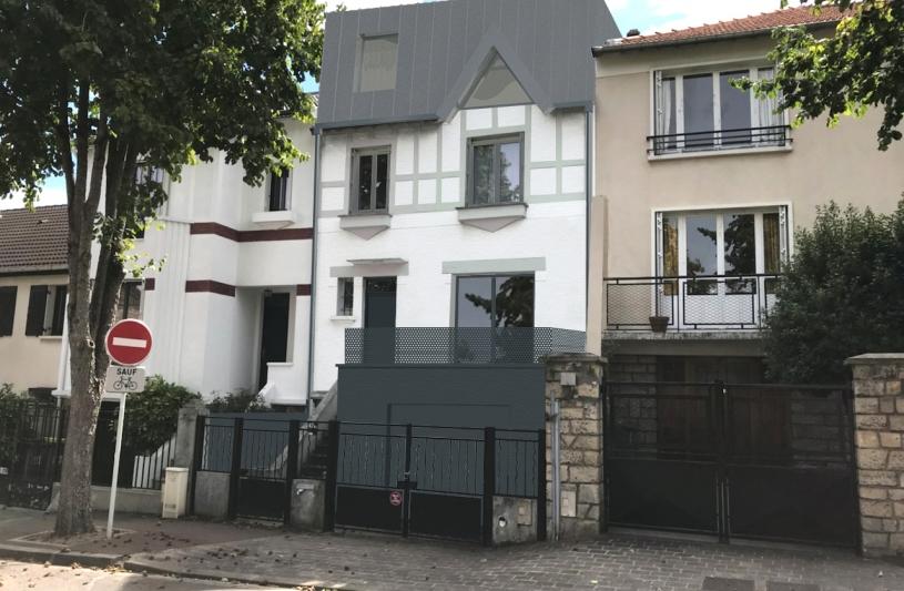 Perspective sur rue : extension toiture zinc, ravalement de la façade