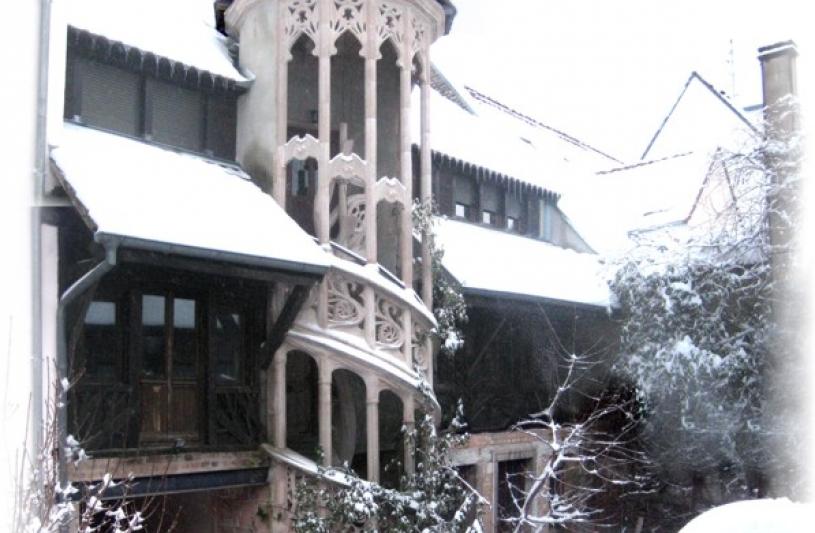 notre cour sous la neige
