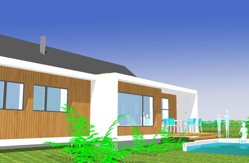 maison avec ossature bois et bardge en mélèze, toiture terrasse végétalisée, maçonnerie enduite