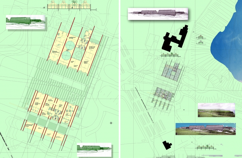 Plan définition musée et services - Plan de Masse pour le site de la Chaussée des Géants