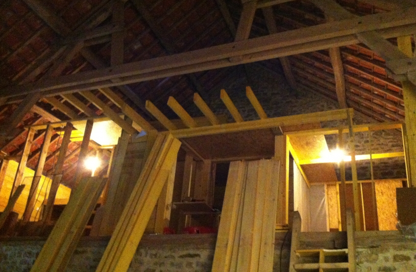 Transformation d'une grange en habitation - chantier