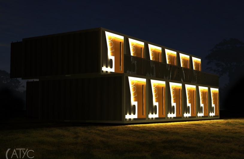 """SnoozeBox - perspective sur la configuration """"hôtel"""" vue de nuit"""