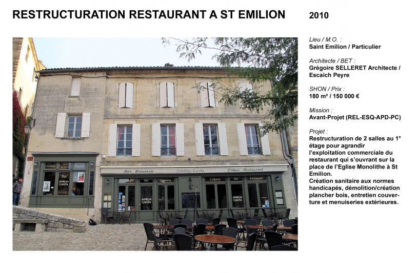 Restructuration restaurant St Emilion
