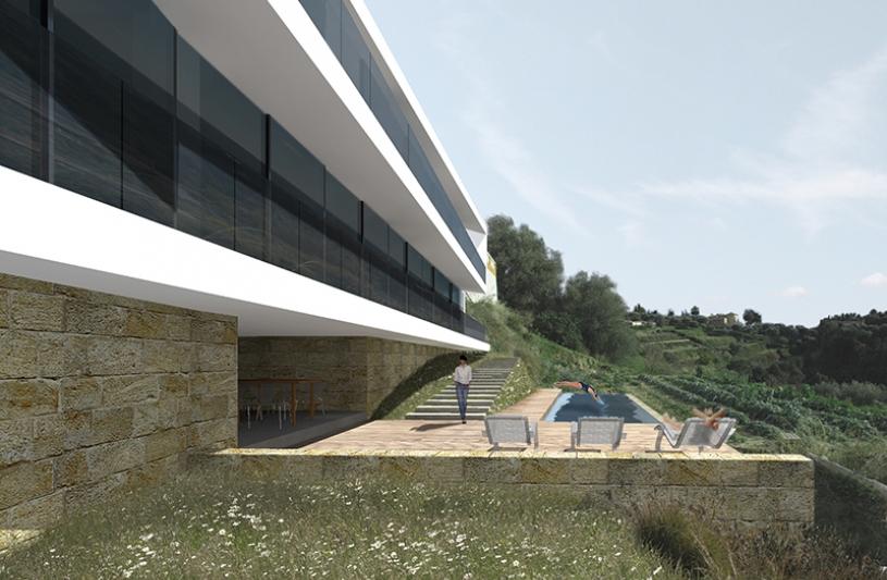 La géométrie du projet se fond dans la topographie du site.