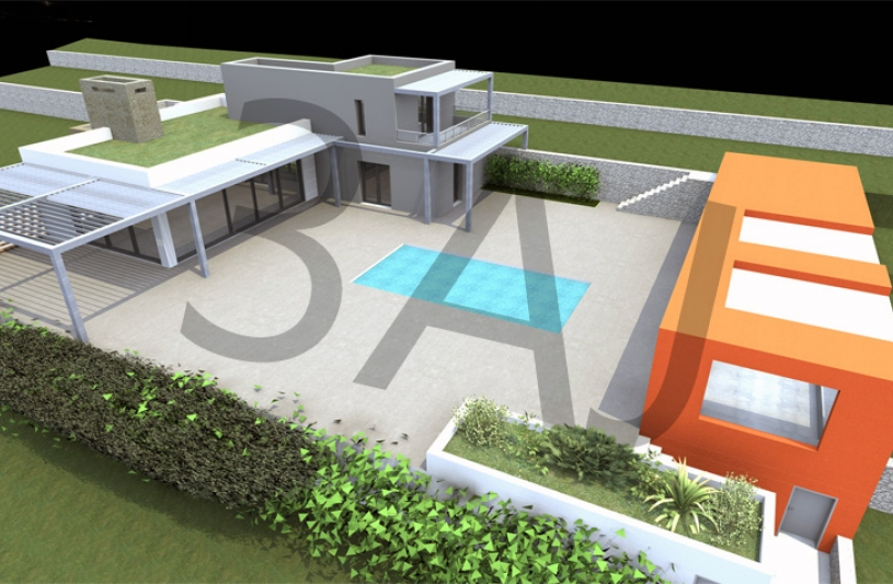 Villa M02 - Vue aérienne - PROJET - Lascours 13360 ROQUEVAIRE