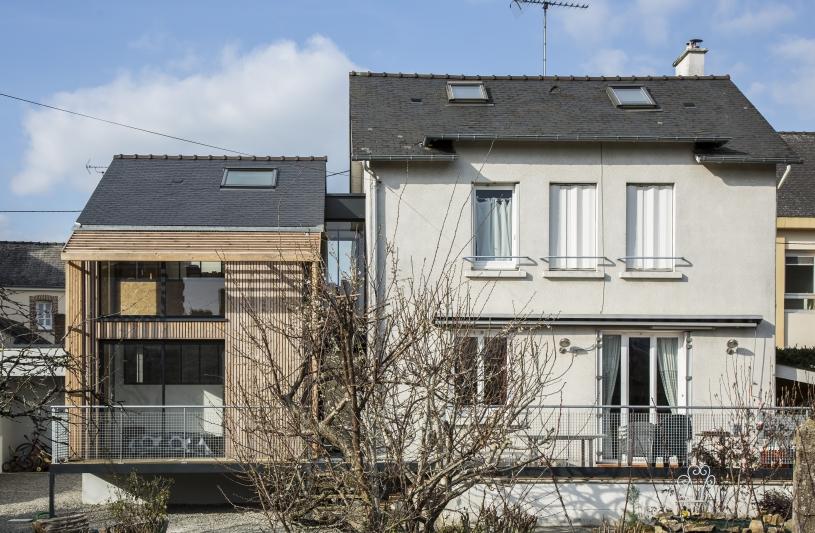 extension maison architecte laval bois métal