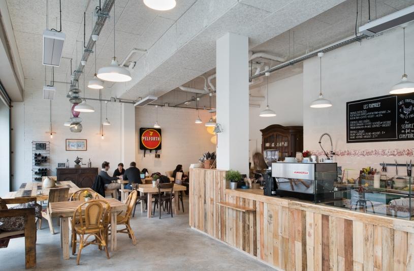 cantine, aménagement, restaurant, palette, recyclage