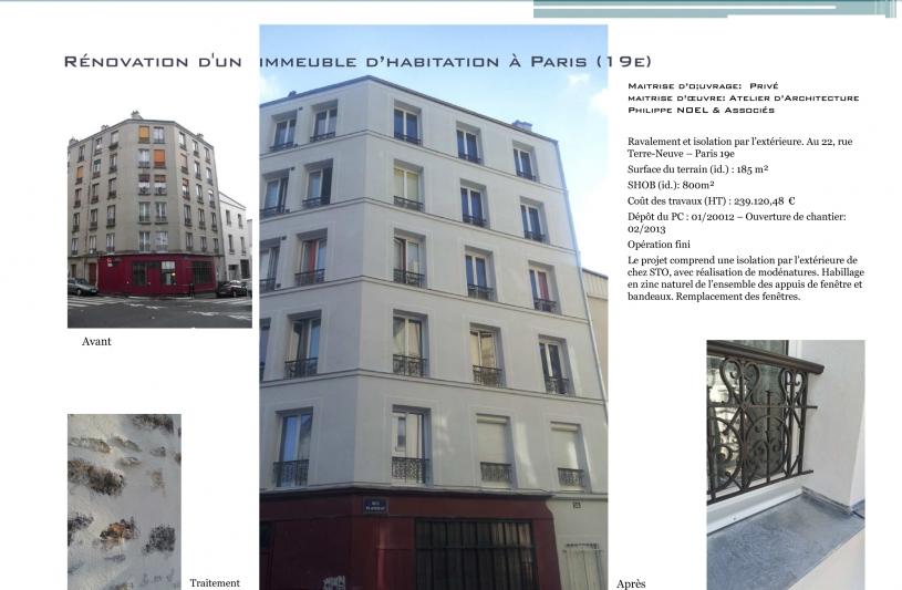 Architecte, Paris, Ravalement, ITE, isolation thermique par l'extérieure.