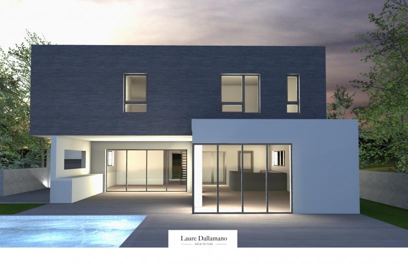 Villa architecte Saint-Louis - nuit