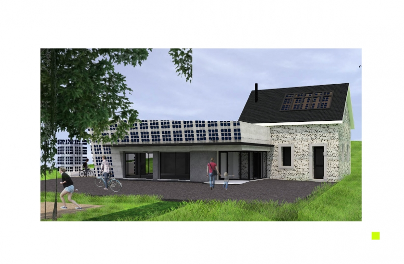 Projet mêlant construction traditionnelle (mur en galets et planchers bois) et architecture contemporaine (toiture végétalisée et isolation par l'extérieure) support de nouvelles technologie (panneaux solaire organiques).