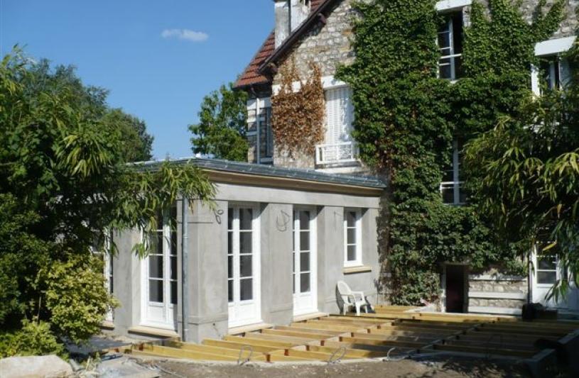 Extension avec terrasse bois - photo phase travaux