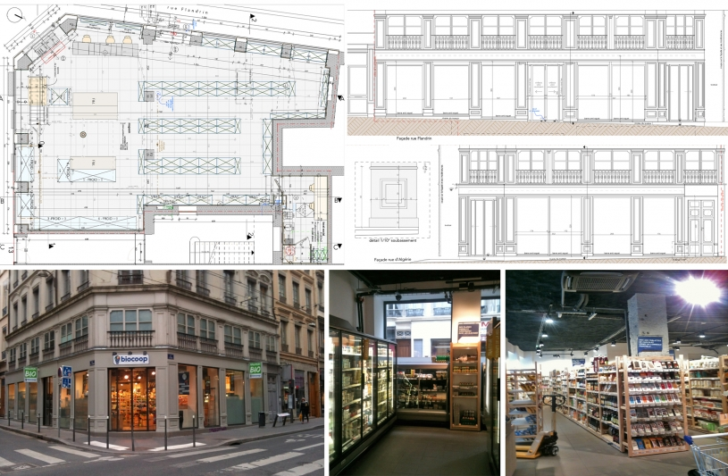 Aménagement d'un magasin Bio, traitement des façades en secteur classé, et mise aux normes d'accessibilité.
