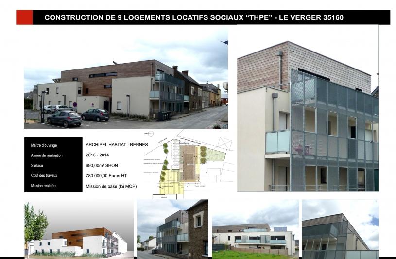 Construction d'un immeuble ARCHIPEL HABITAT de 9 logements locatifs sociaux à LE VERGER (35)