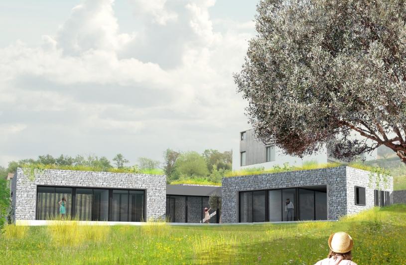 Maison en pierre - construction neuve - perspective côté jardin