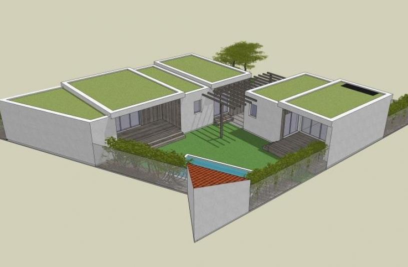 construction de deux bâtiments, chacun en mitoyenneté, enserrant l'espace piscine.