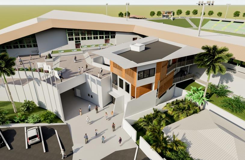 Vue aérienne de la nouvelle extension