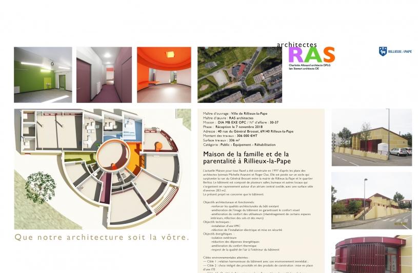L'actuelle Maison pour tous Ravel a été construite en 1997 d'après les plans des architectes lyonnais Michelle Avanzini et Roger Duc. Elle est posée sur un socle qui surplombe la rue du Général-Brosset entre la mairie de Rillieux-la-Pape et le quartier Berlioz. Le bâtiment est composé de plusieurs salles, bureaux et autres locaux qui s'organisent en rayonnement autour d'un atrium central ovoïde, avec une surface utile d'environ 283 m2.  Le présent projet ne concerne que le bâtiment.  Objectifs architecturau
