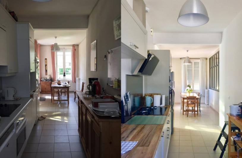 Avant / Après - Cuisine sur salle à manger avec verrière