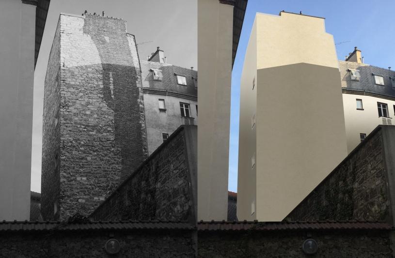 Murs pignons avant et après isolation au béton de chanvre