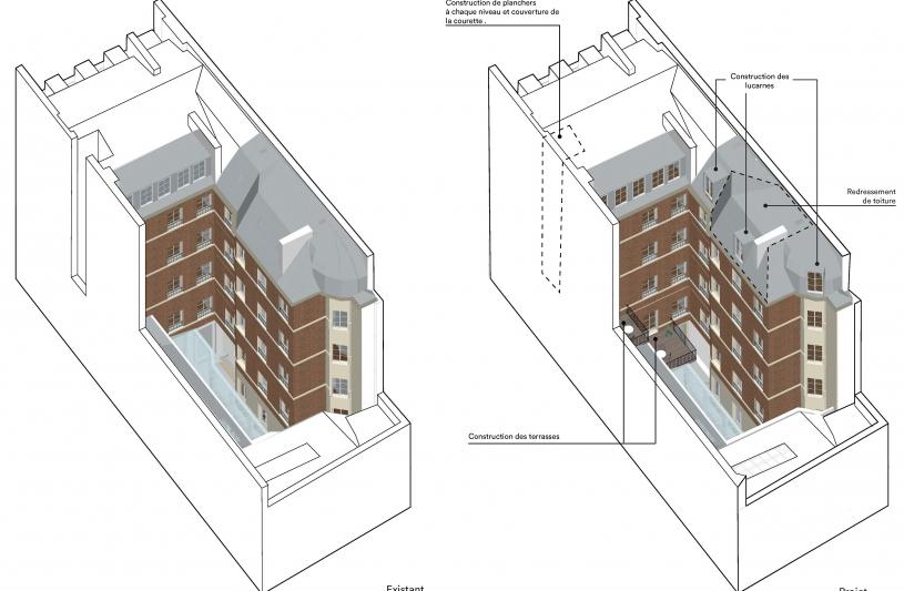 Création de lucarnes et de terrasses en toitures.