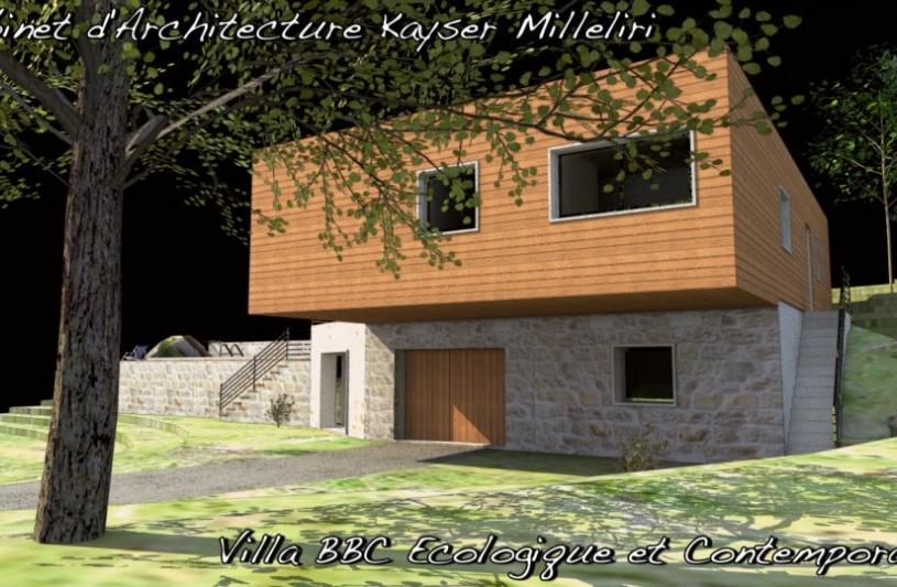 Villa moderne bbc bio climatique ossature bois for Architecte corse