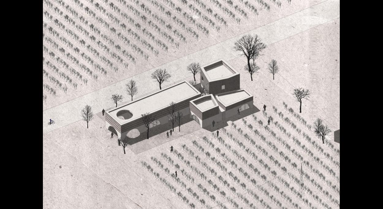 Maison des Vins Argos - Chai viticole en pierre massive et terre crue (pisé et adobe)
