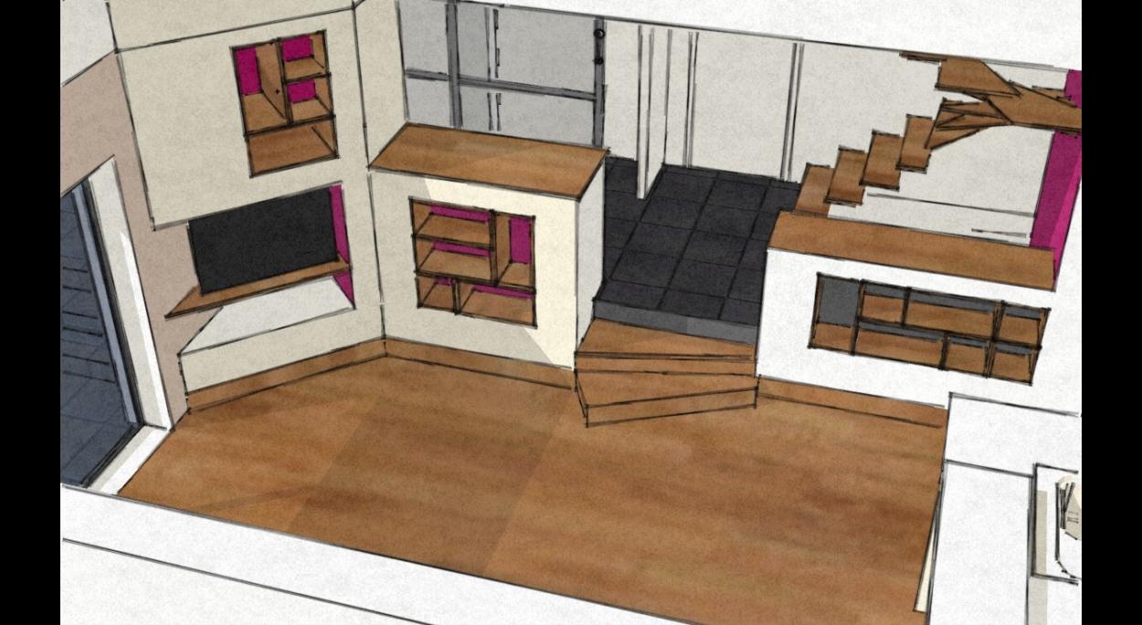 Etude pour les meubles-cloisons séparant l'entrée du séjour