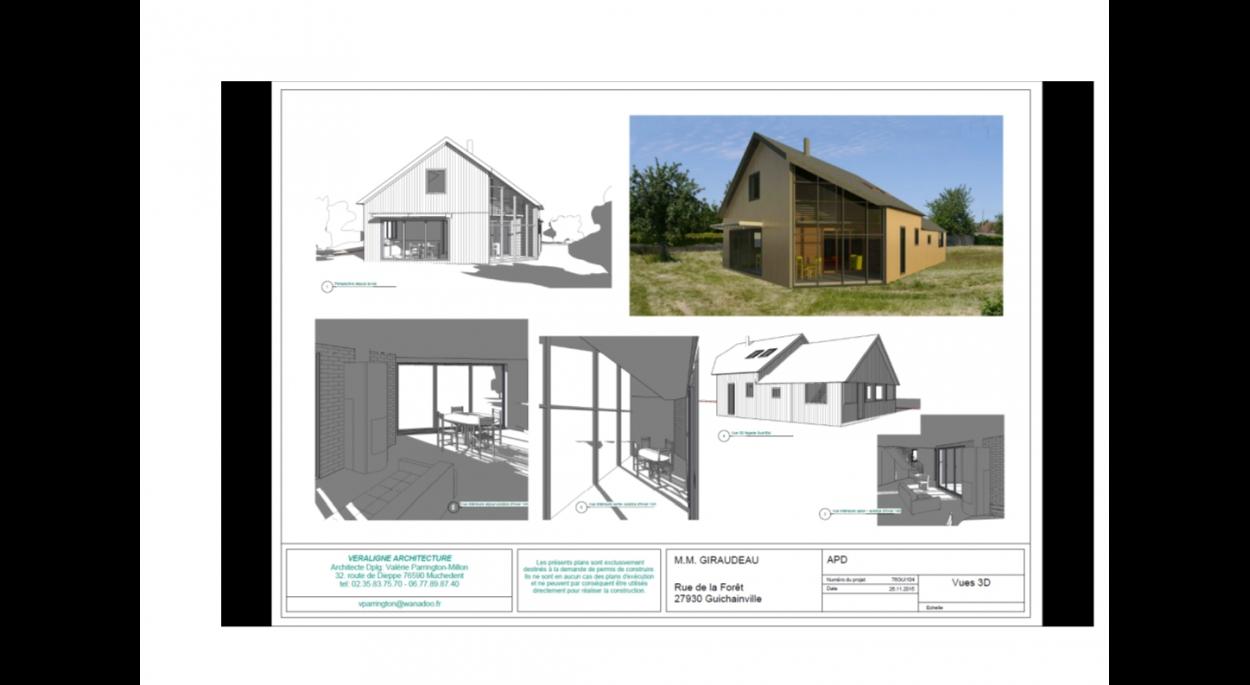 CONSTRUCTION D'UNE MAISON A OSSATURE BOIS BIOCLIMATIQUE - Avant-projet - vue 3 D