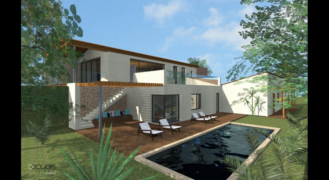 Extension et réhabilitation d'une maison individuelle sur un terrain en restanques