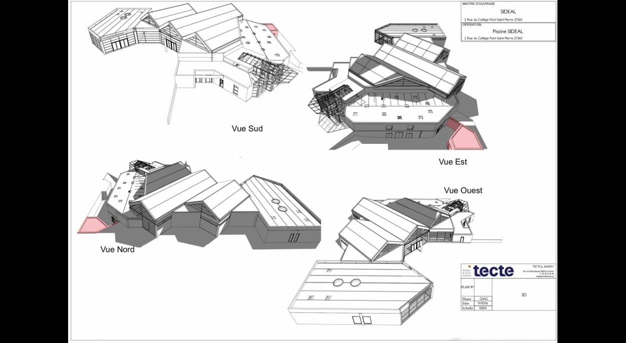 Axonométries extension atelier en rouge - Piscine SIDEAL