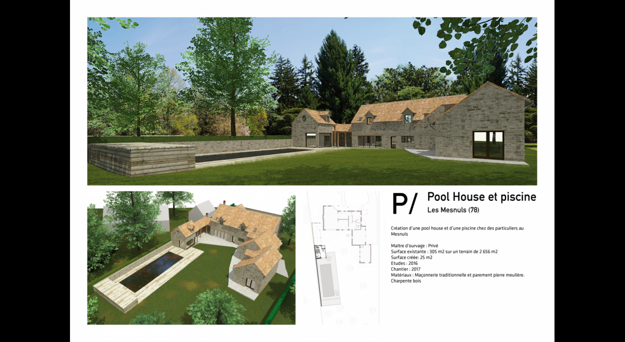 P / Pool House et piscine