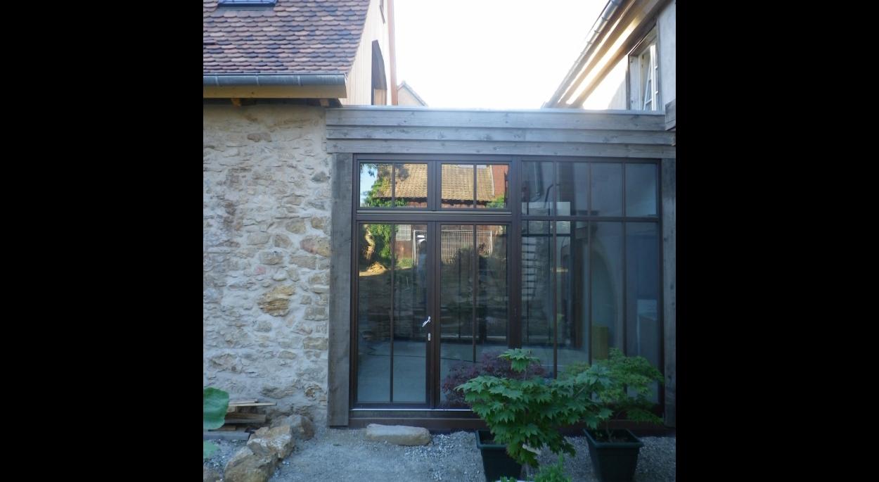 rénovation et restauration d'un corps de ferme en site classé avec extension véranda murs rejointés alsace bas-rhin
