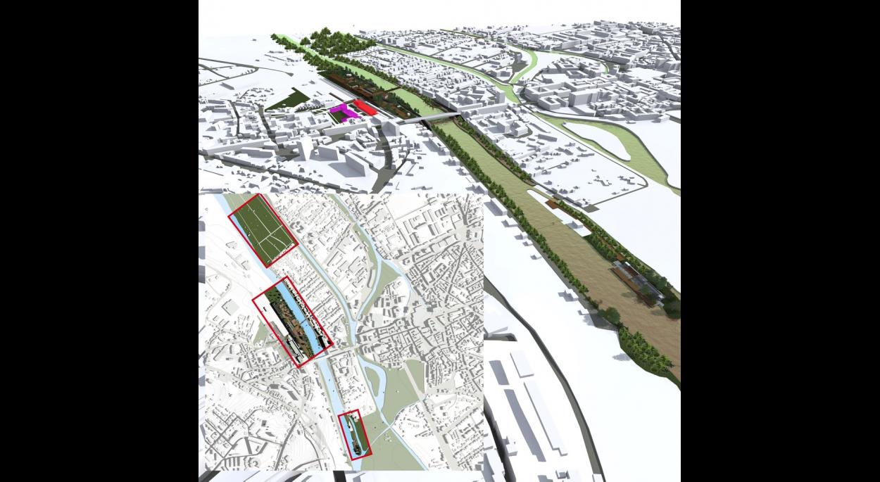 Plan et maquette 3d quartier de la gare Chalons-en-Champagne