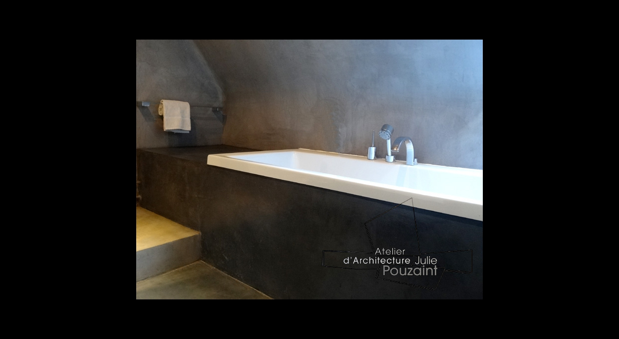 Aménagement de salle de bain béton ciré