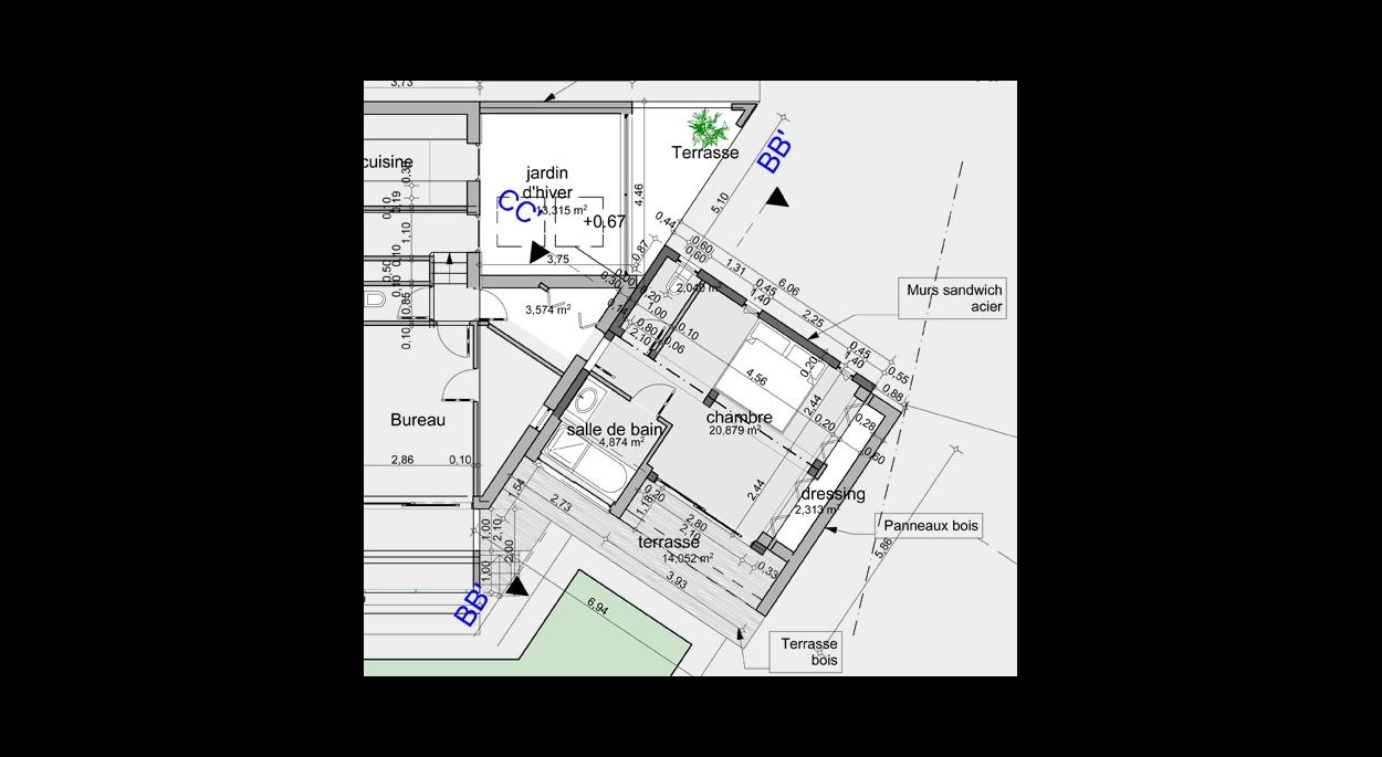 Extension, chambre suite, containers habillage bois