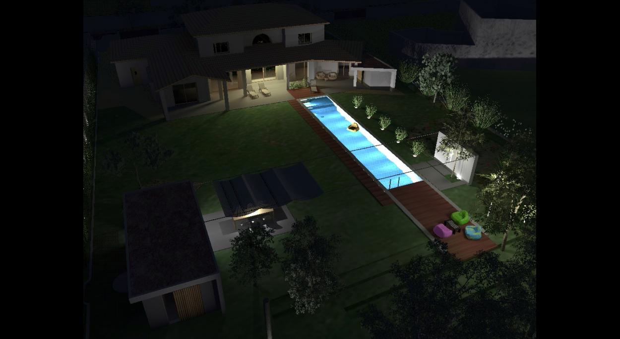 piscine : vue nocturne avec simulation éclairage - atelier S architectes
