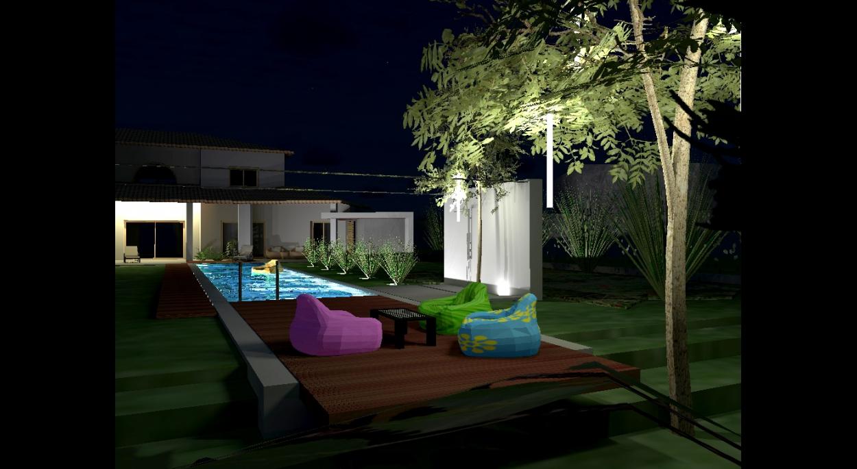 piscine (couloir de nage) avec plage sous les arbres - atelier S architectes