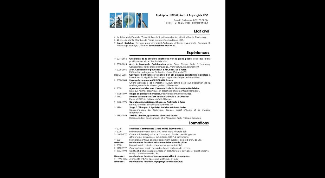 CV ARCHITECTE PAYSAGISTE SCULPTEUR