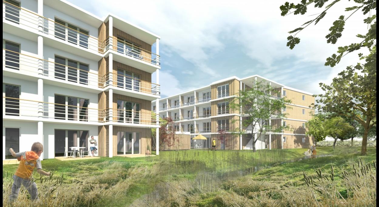 Résidence de tourisme et hôtel 4*, les Ecouardes, Taverny, noue paysagée, Erdre Architecture