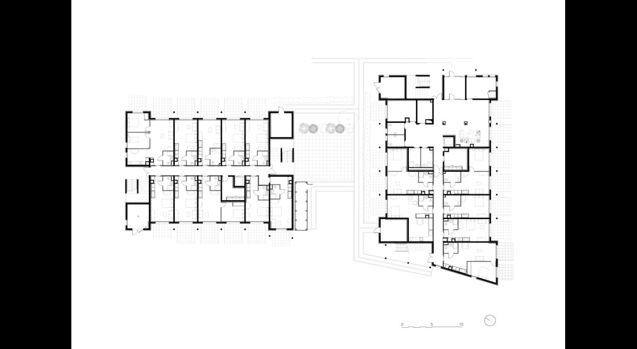 Résidence de tourisme et hôtel 4*, les Ecouardes, Taverny, plan de la résidence, Erdre Architecture