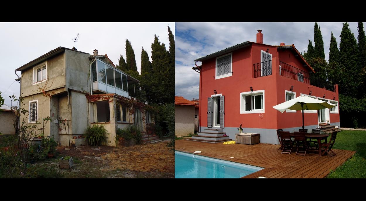 Rénovation Villa : photo état des lieux / Projet finalisé.