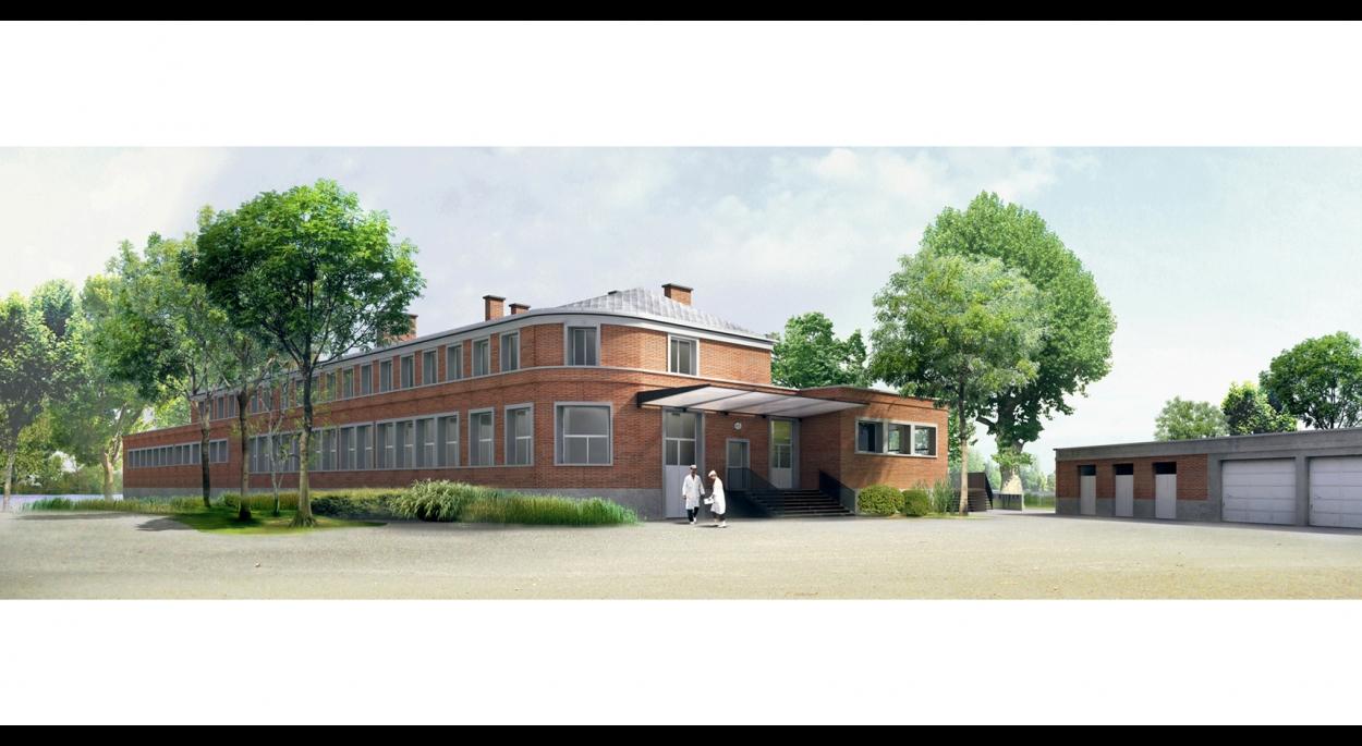 RESTAURATION DU LYCEE GUSTAVE MONOD - ENGHIEN-LES-BAINS  vue perpective sur la cour