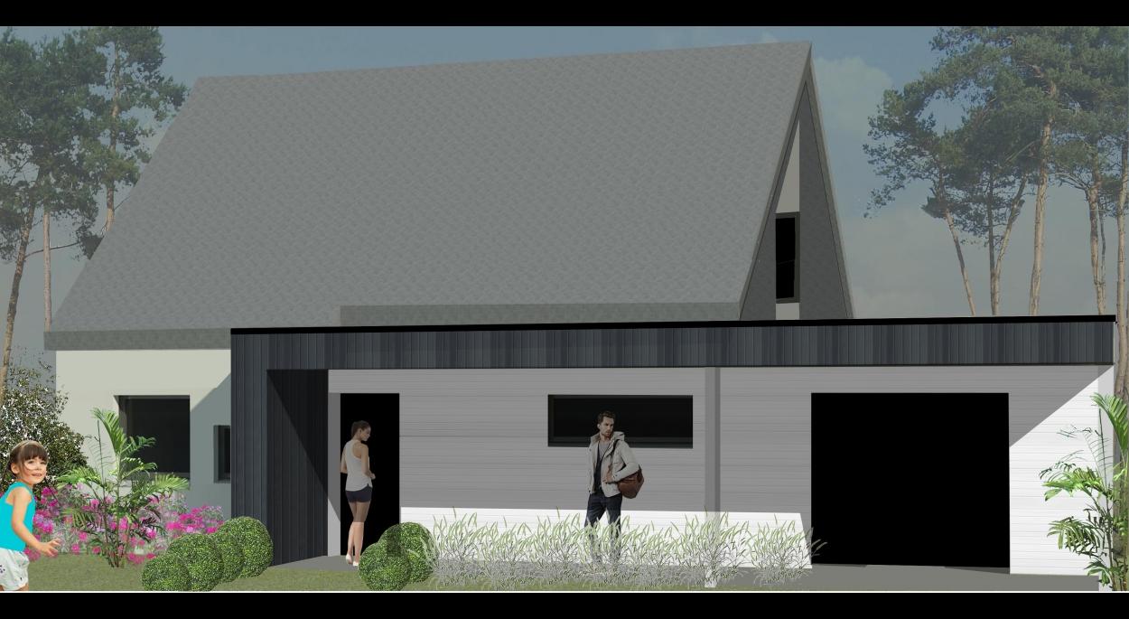 Dans le but de créer une unité entre la maison existante et l'extension du garage traitée en toiture terrasse, une continuité du matériau de façade (bardage de teinte blanche) a été réalisé.