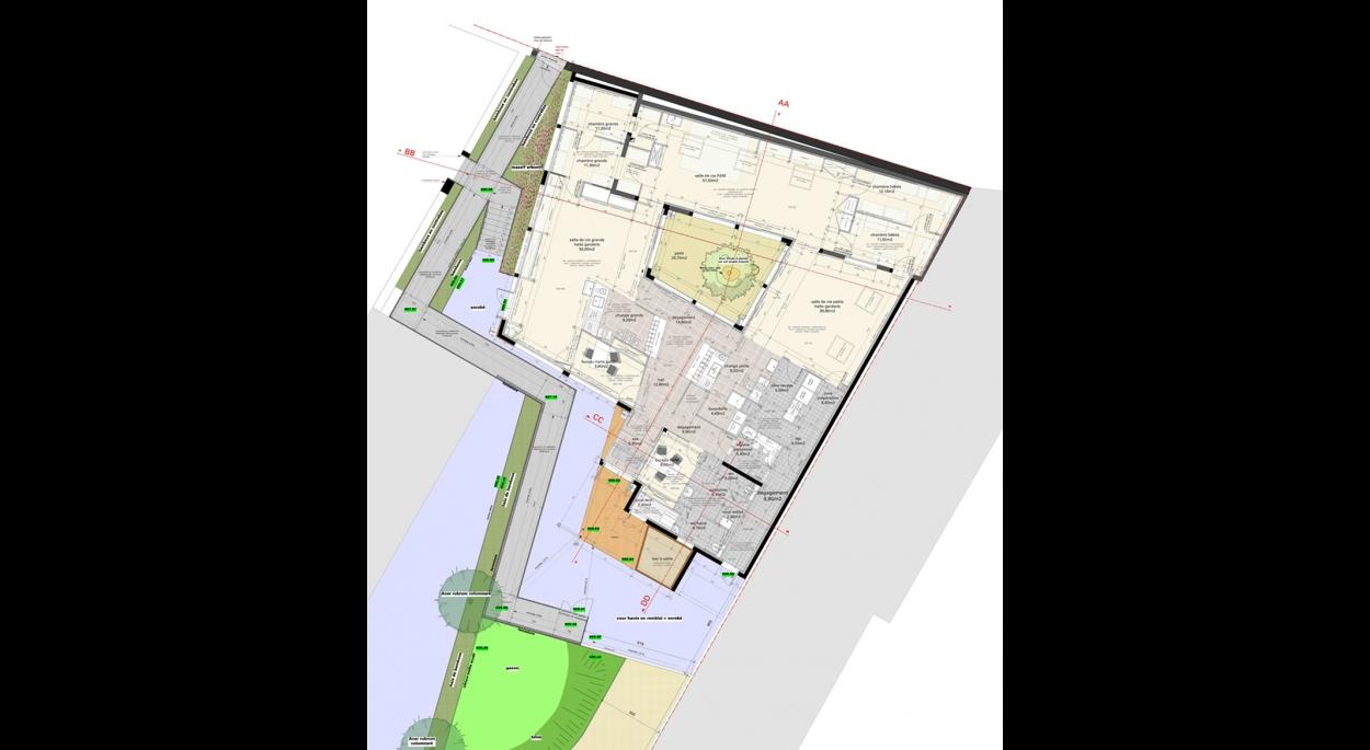 Plan du projet avec organisation des extensions autour d'un patio central