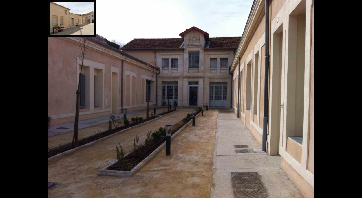 Aménagement de la cour intérieure, avant et après travaux