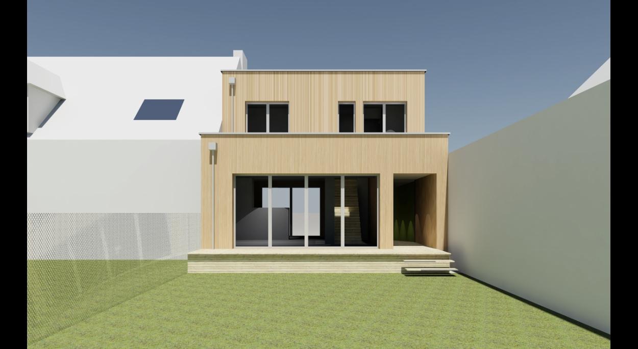 L'étage respecte le gabarit du garage existant, le RDC se prolonge sur le jardin.