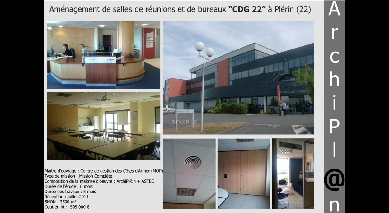 """Aménagement de salles de réunions et de bureaux """"CDG 22"""" à Plérin (22)"""