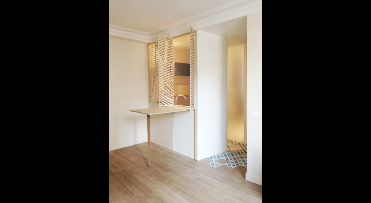 Studio Astucieux, modulable : Claustra cuisine