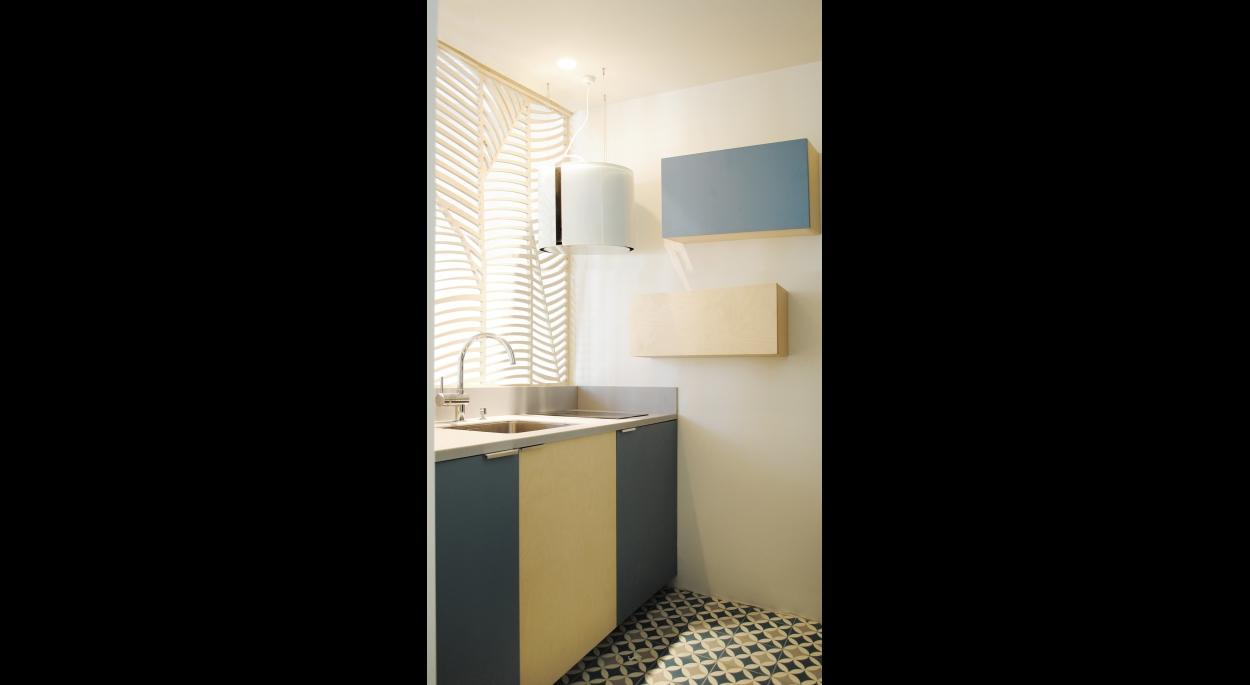 Studio Astucieux, modulable : Cuisine, carreaux de ciment